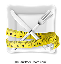 Diet concept illustration - Square plate with measuring tape...