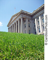 Treasury Building - The US Treasury Building in Washington,...