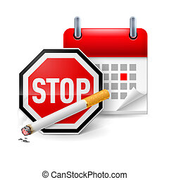 No smoking day icon - Sign stop, cigarette and calendar with...