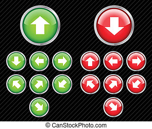 Set of vector direction buttons with arrows. Easy to edit,...