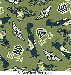 WW2 air squadron seamless pattern