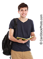 Young male college student with books - portrait of Young...