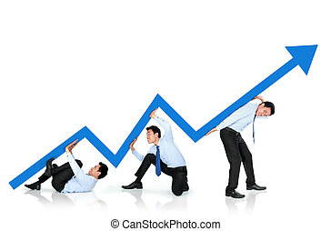 growth chart concept - portrait of business man pushing up...