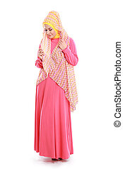 beautiful girl wearing pink muslim costume - beautiful woman...
