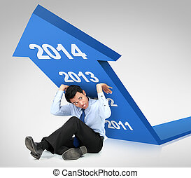 Business growth 2014. businessman trying to push arrow...