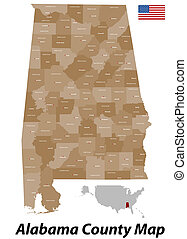 Alabama County Map - The state of Alabama with all counties...
