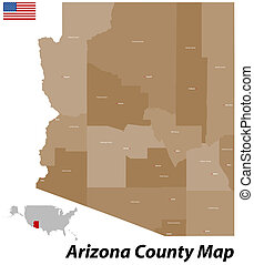 Arizona County Map - The state of Arizona with all counties...