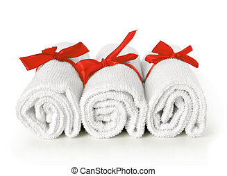 Towel rolls with ribbons