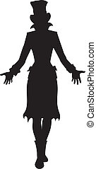 Hat woman silhouette - Silhouette of girl in tall hat. She...