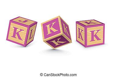 Vector letter K wooden blocks