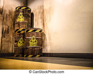 Toxic waste - old Three brown tanks of hazardous chemicals