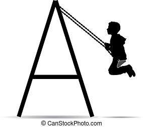 Boy swinging on a swing in the park silhouette vector...