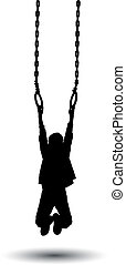 Boy hanging on rings silhouette vector