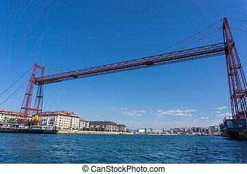Wide angle view of the Bizkaia suspension bridge - Wide view...