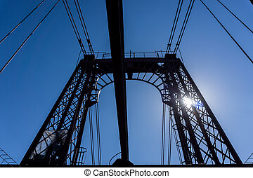 Top of the Bizkaia suspension bridge - Backlight of top of...