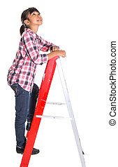 Young Girl On A Ladder - Young girl on a ladder over white...