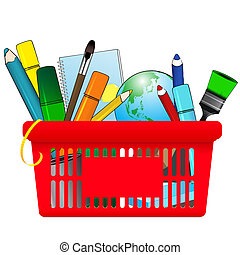 Shopping card with school supplies - Vector illustration of...