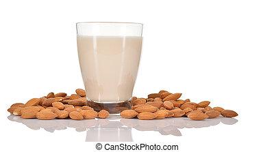 Almond milk on white background. - Almond milk as a...