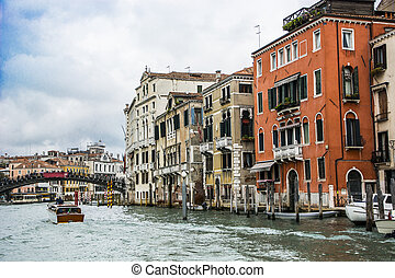 The Canal Grande in Venice, Italy with bridge in the back...