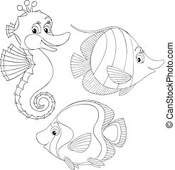 Coral fishes and seahorse - Funny toy fishes and sea horse,...