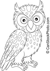Owl - owl, black and white outline illustration on a white...