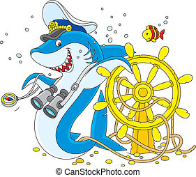 shark captain - Great white shark with a captain cap,...