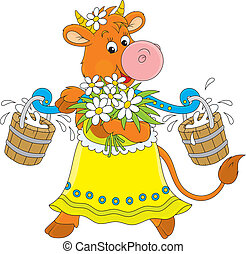 Cow - Funny cow walking with bucketful of milk