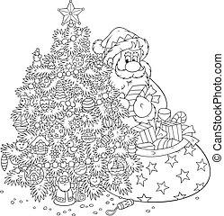 Santa Claus and Christmas tree - Santa with a bagful of...