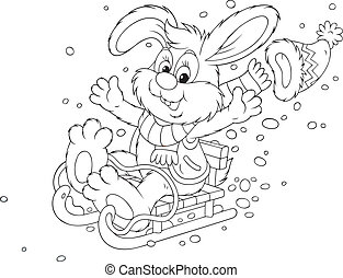 Rabbit sledding - Merry grey bunny sledding down, black and...