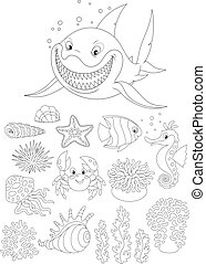 Sea animals - Set of sea animals, black and white outline...