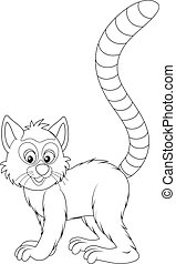 Lemur - lemur, black and white outline illustration on a...