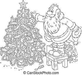 Santa decorates a Christmas tree - Father Christmas...
