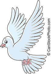 Pigeon - White pigeon flying, vector illustration on a white...