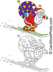 Santa skiing with Christmas gifts - Santa Claus skis down...