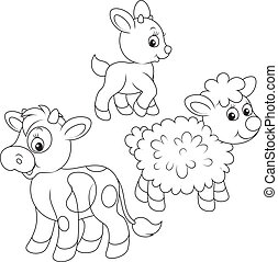 Farm animals - kid, calf and lamb, black and white outline...