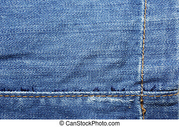 Blue jeans with yellow stitches abstract textle background.