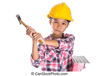 Young Girl With Hammer - Young girl with hard hat and hammer...