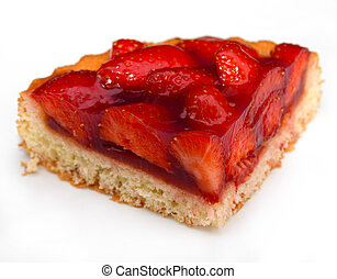 strawberry cake - a piece of freshly baked strawberry cake