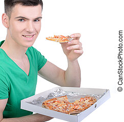 Fast Food - Young man eating pizza isolated on white...