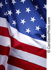 American flag - Closeup of ruffled American flag