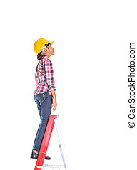 Young Girl On A Ladder - Young girl with hard hat on a...