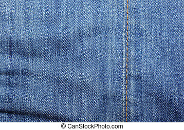 Blue jeans with vertical yellow stitches abstract textured background.