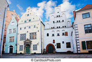 Houses in old town, Riga - Three Brothers, a cluster of...