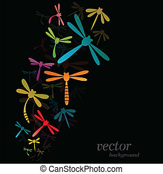 Dragonfly design on black background - Vector Illustration