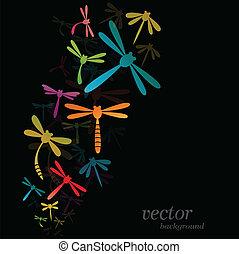 Dragonfly design on black background - Vector Illustration