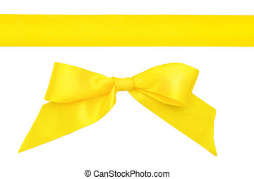 Yellow ribbon with a bow isolated on white background