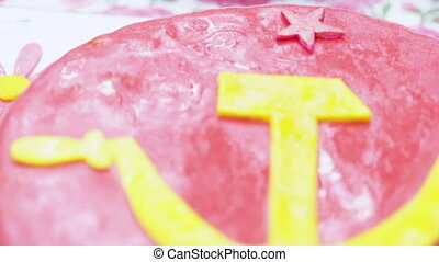 Cake with hammer and sickle - Themed cake with symbols of...