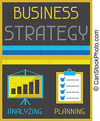Business strategy. Retro poster in flat design style.
