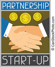 Start-up Partnership. Retro poster in flat design style.
