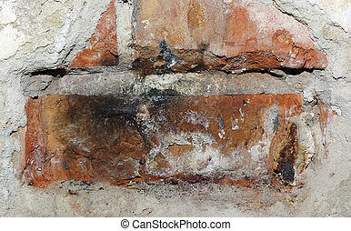 Concrete brick wall with damaged beton plaster. Abstract textured background.